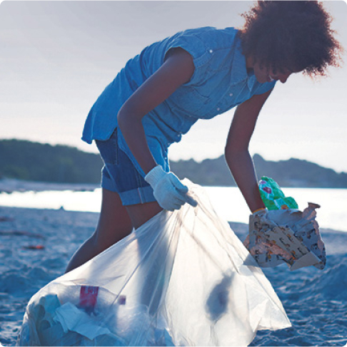 Someone doing beach cleanup
